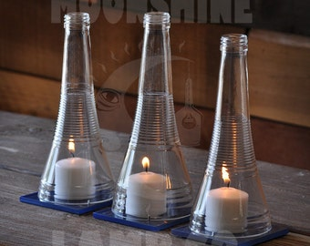 Candle Centerpiece - Recycled Triplesec Bottle Candle Hurricane