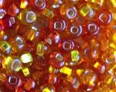 100pcs-4mm golden orange, yellow mix color Czech glass seed beads