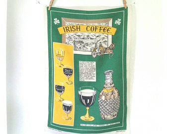 Irish Coffee vintage souvenir tea towel - kitchen linen with recipe