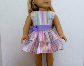 Lavender, Purple, and Pink  sparkly party dress fits American girl 18 inch doll clothes