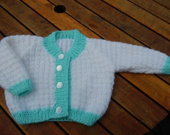 SALE sweet hand knitted baby cardigan/sweater white and mint green 3-6 months