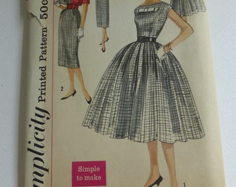 Vintage Simplicity Pattern 2406 One Piece Dress with 2 Skirts and Jacket  Teen Size 12 Bust 32 Inches