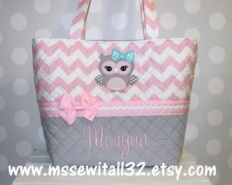 XL Pink Chevron / Owl Applique Quilted Purse / Tote / Diaper Bag