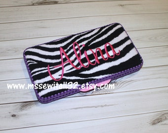 Custom Zebra Print Diaper Wipes Case