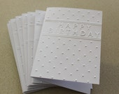 Birthday card set, set of eight embossed cards in white, gift idea, happy birthday, birthday, celebration, gift idea