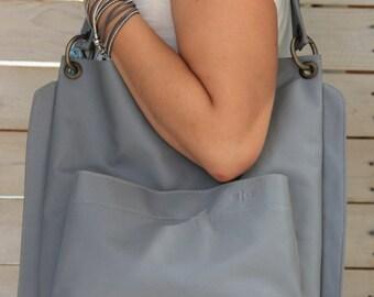 Grey tote bag, Vegan leather handbag, Large purse organizer, Shoulder bag and purse, Everyday bag