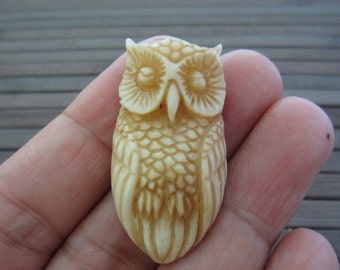 Hand Carved OWL, Ox Bone, Jewelry making Supplies B2593