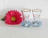 Petite Blue floral Glass Vases Pair