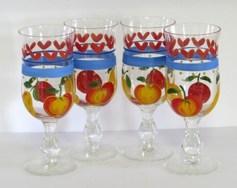 Large Hand Painted Fruit Glasses - Set of Four 14 oz Refreshing Water - Juice Smoothie - Mimosa - Daiquari - Long Island Iced Tea - Cocktail