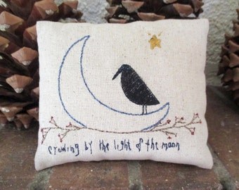 Primitive Moon Crow Pillow Embroidered Home Decor Bowl Fillers