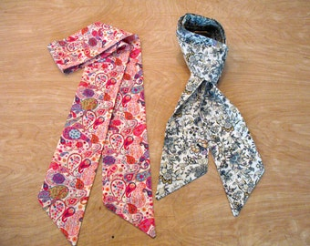 Liberty Print Scarf, Long, Skinny Scarf, Double Sided, in 4 Liberty of London Prints.  Made to Order.