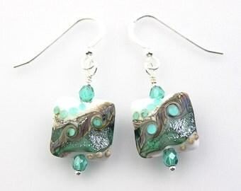 Lampwork Glass Bead Earrings in Light Emerald Green and Silver