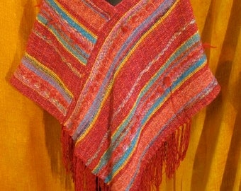 Pullover Poncho Red