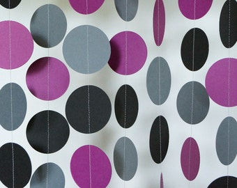 Purple Gray Black Paper Wedding Decor, Plum Purple Party Decorations, Purple Bridal Shower, Paper Garland, 10 ft. long
