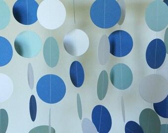 Blue & White Paper Garland, Boy's Blue Birthday Party, Blue Baby Shower Decor, Birthday Decoration, 10 ft. strand