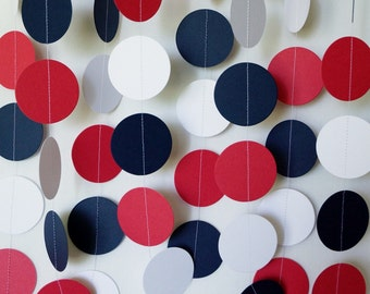 Red, White and Blue (Navy) Garland, Patriotic Decoration, Paper Circle Garland, 4th of July Decor, 10 ft. long