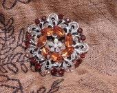 Brown Wreath Magnetic Brooch Acrylic Rhinestone Sash Pin Pageant