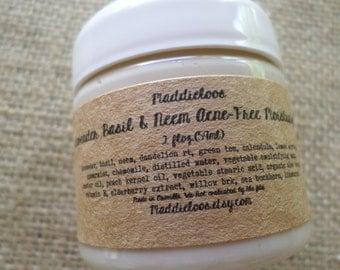 Vegan-Lavender Basil & Neem ACNE-FREE Facial Moisturizer 2oz.(No butters-anti bacterial-antiseptic properites-healing-acne prevention)