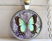 Butterfly Pendant, Butterfly Necklace, Blue Art Pendant, Butterfly Jewelry