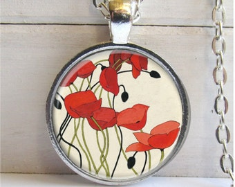 Red Poppies Pendant, Poppies Necklace, Art Pendant, Red Poppy Jewelry