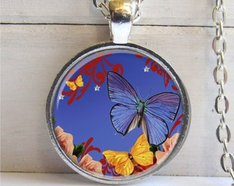 Art Pendant, Altered Art Butterfly, Silver and Glass Butterfly Charm Pendant