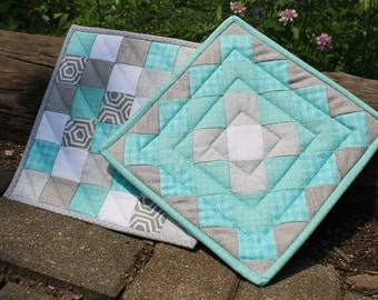 Teal and Grey Potholders
