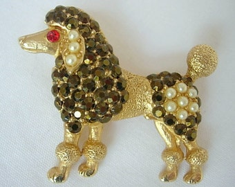 Tura Poodle Brooch Pin Vintage Figural Animal Dog Dark Chocolate Brown Faceted AB Rhinestones Red Eye Faux Pearls Textured Gold Tone Metal
