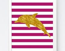 Gold Magenta Dolphin Print, Printable Gold Dolphin Decor, Gold Foil Dolphin Printable, Pink Stripes, Dolphin Art Pink Gold, INSTANT DOWNLOAD