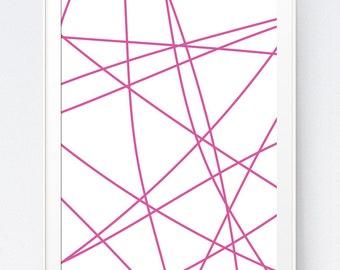 Pink Wall Print, Pink Printable Art, Pink Abstract Art, Modern Minimalist Wall Art, Geometric Abstract Print, Minimal Pink, INSTANT DOWNLOAD