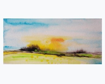 "8""X4"" Abstract Watercolor Painting Original Art Original Abstract Art Watercolor painting by Tatjana Ruzin Sunshine Valley abstract painting"