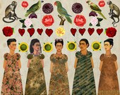 5 FRIDA Kahlo Paper DOLLS -  INSTANT Printable Digital Sheet