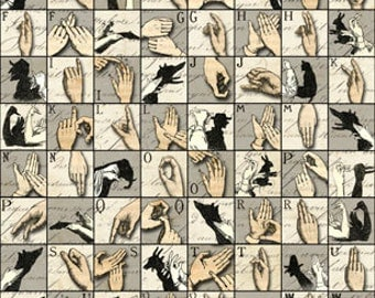 VINTAGE HANDS Amazing ALPHABET - Printable Digital Collage Sheet