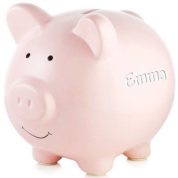 Personalized engraved ceramic pink piggy bank - Engraved silver piggy bank ...