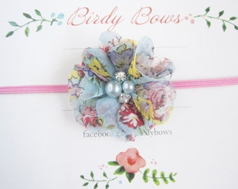 Pink Floral Baby Headband, Baby Headbands, Newborn Headbands, Baby Girl Headbands, Infant Headbands, Baby Bows
