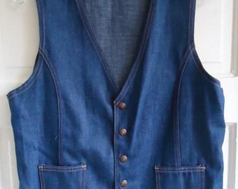 Vintage 70s Slim Fit Denim Snap Vest sz S/M