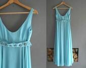 1960s Turquoise Chiffon Maxi Dress