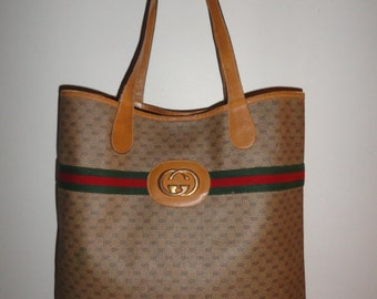 Authentic Vintage Large Brown Monogram Canvas & Leather Trim GUCCI 002.904.0131 GG Logo Tote Shoppers Bag