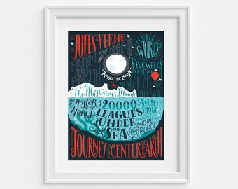 Jules Verne bibliography (12,60 x 18,10) Art print with hand lettering,
