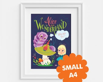 Alice in wonderland small poster, Alice and the caterpillar A4 (8,27 x 11,7)