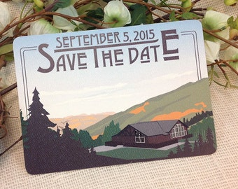 Mountain Cabin // Mountain Lodge Save The Date Postcard: Get Started Deposit or DIY Payment