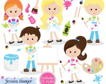 INSTANT DOWNLOAD,  painting clipart - teacher supply clip art - school graphic - invitation image - commercial use - art class