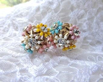 Vintage Screw Back Earrings Flowers Rhinestone Pink Yellow Blue White