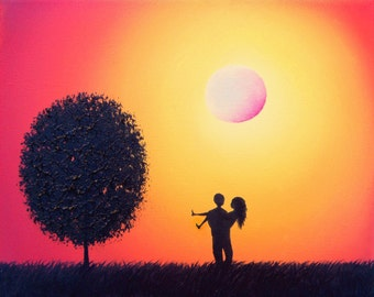 True Love Art Print, 8x10 Lovers Couple Silhouette Canvas Art Print, Wall Art Whimsical Giclee Print, Orange Red Sky, Anniversary Gift Idea