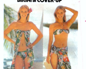 Misses Bikini and Tie-On Cover-Up Two Piece Swimsuit, Swimmers, Butterick 5438 Size 12 - 14, Medium, Bust 34 - 36