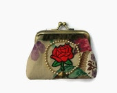 Handmade Coin Purse. Mixed media purse. Vintage linen purse. Embroidered rose purse.