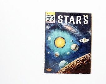 Vintage 1960s Children's Book - The How and Why Wonder Book of Stars - Stargazing, Astronomy, Vintage Science, Kids Room Decor, Night Sky,