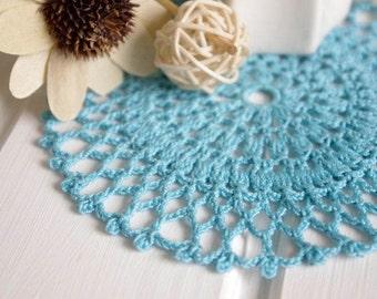 Turquoise blue crochet doily Small doily Small crochet doilies Aquamarine crochet doily Crochet coaster