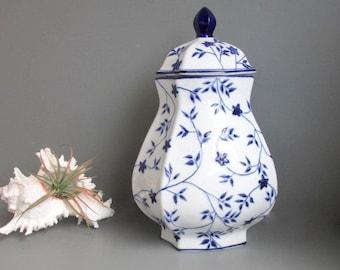 Vintage Blue and White Ceramic Ginger Jar