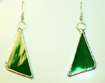Green Geometric Stained Glass Earrings Abstract Original Handcrafted Jewelry Made in the USA