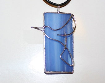 Pendant of Blue Stained Glass with Hummingbird Design Original Handcrafted Jewelry Made in the USA
